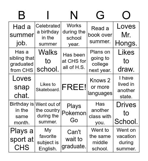 First Day of School Bingo Card