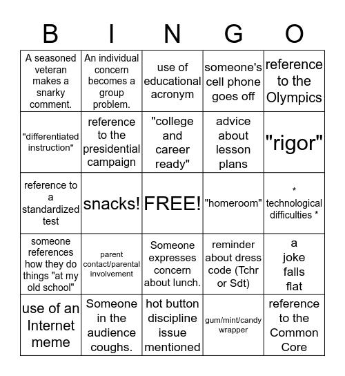 Welcome to the 2016 - 2017 School Year! Bingo Card