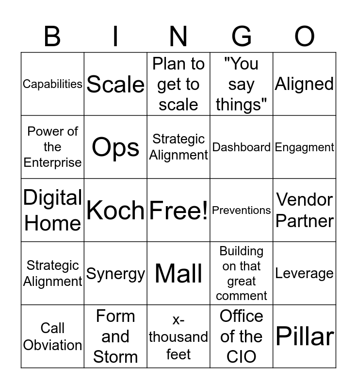 Service Transformation Bingo Card