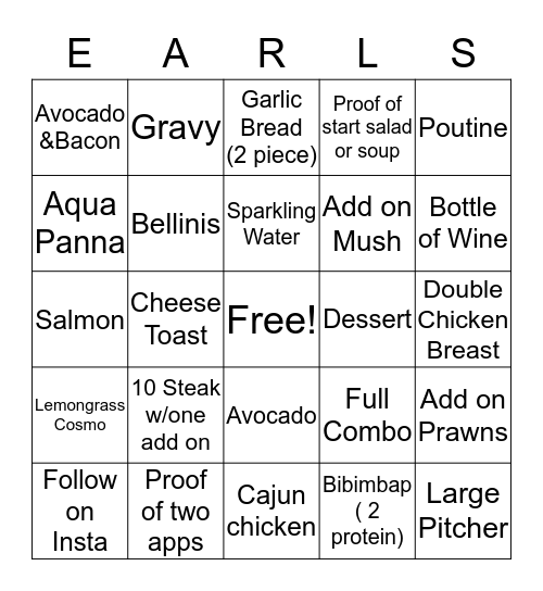 Night Team  Bingo Card