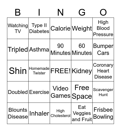 Obesity Bingo Card