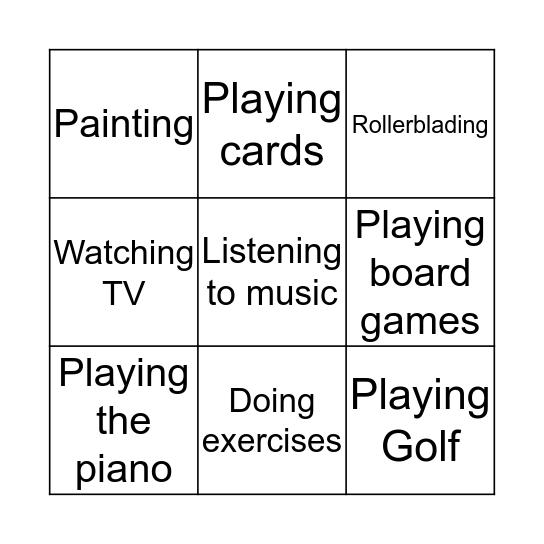 Free Time Activities Bingo Card