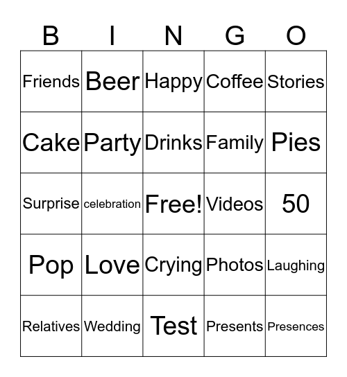 50th Wedding Anniversary Surprise Bingo Card