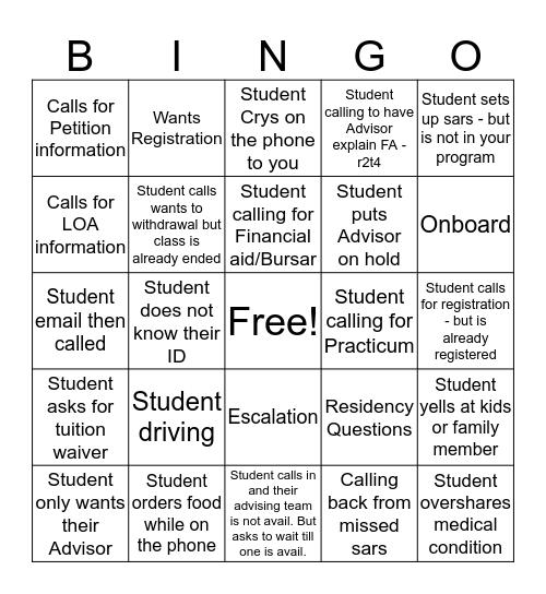 Fall Term Start  Bingo Card