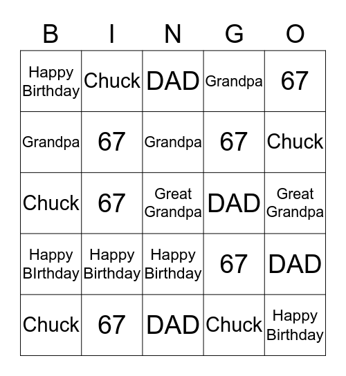 HAPPY 67th BIRTHDAY!! Bingo Card