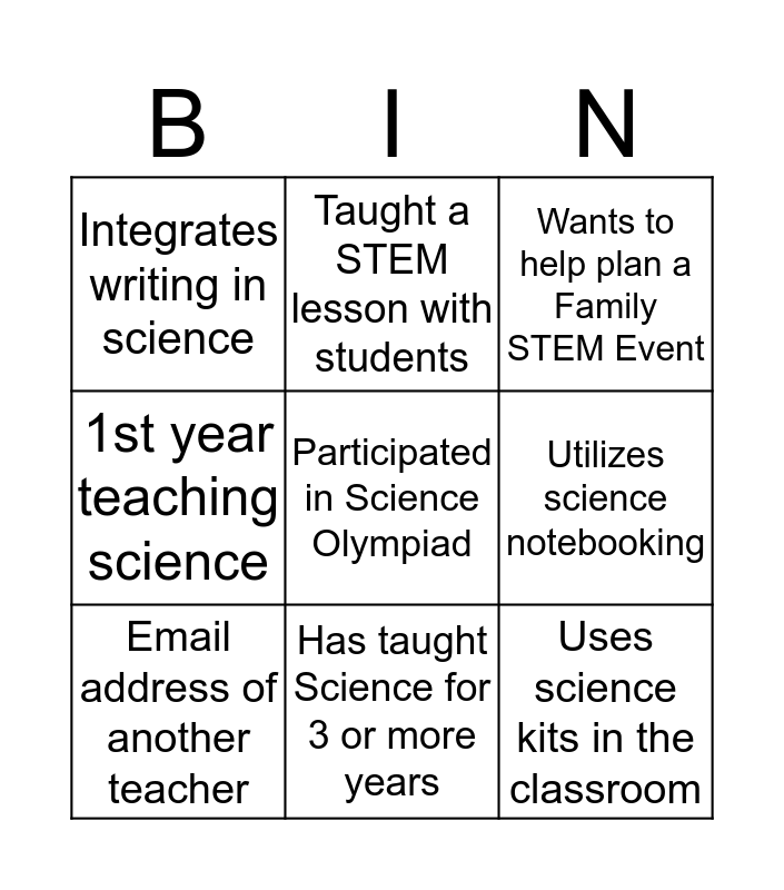 STEM Family Night Bingo Card