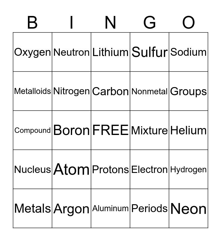 Jordan's Bingo Card
