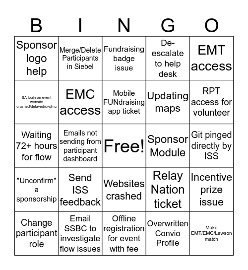 EWS Bingo Card