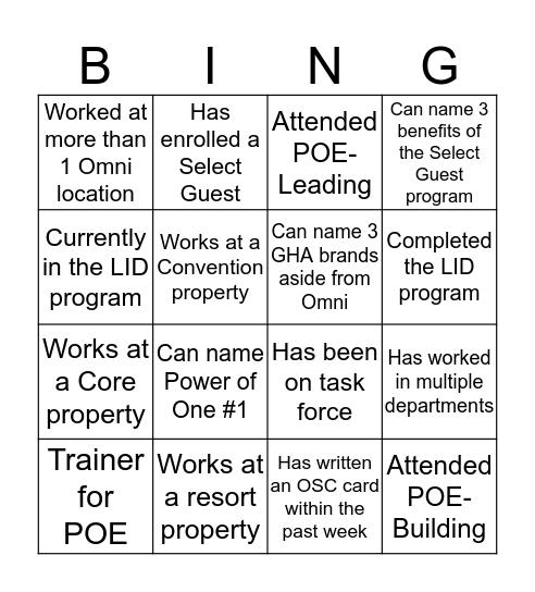 Intro to Management- 2016 Bingo Card