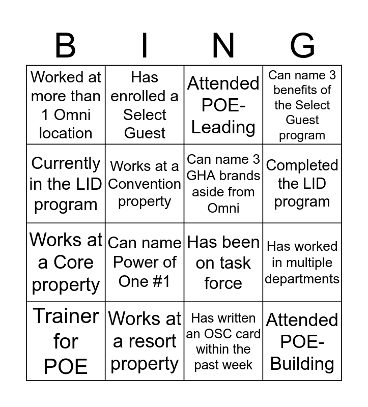 Intro to Management- 2016 Bingo Card