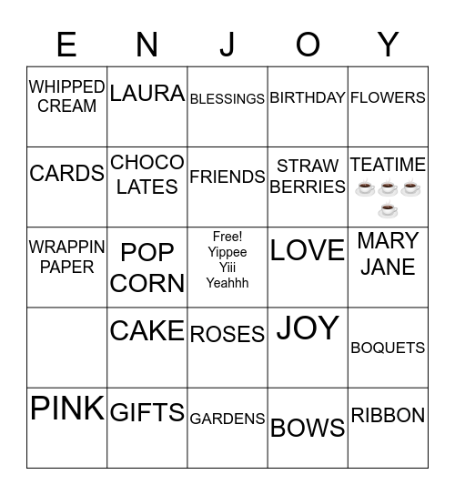 BIRTHDAY TIME Bingo Card
