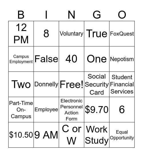 Supervisor Training Bingo Card