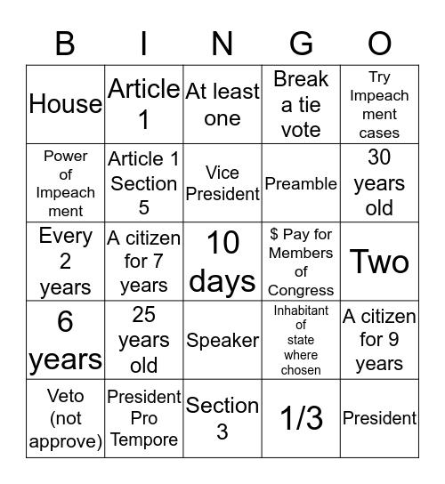 Legislative Branch Bingo Card