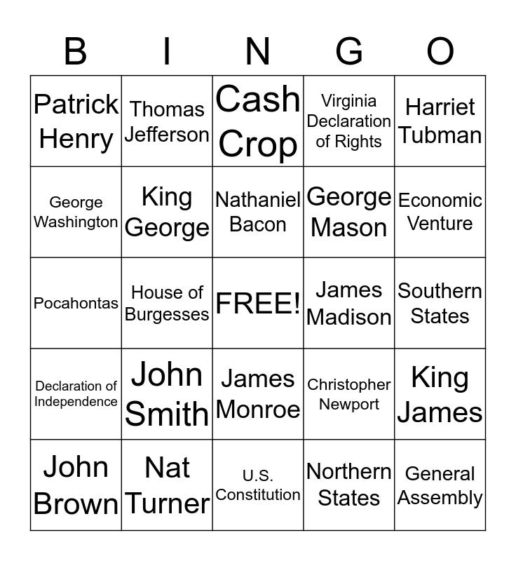 Virginia History Review Bingo - Pre Civil War Bingo Card