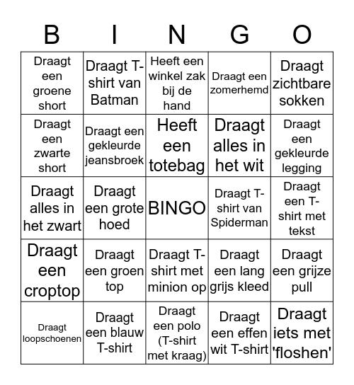 Kledij Bingo Card