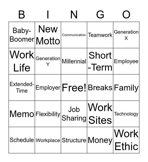 Workplace Flexibility Bingo Card