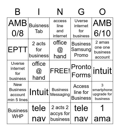 Small Biz Bingo Card