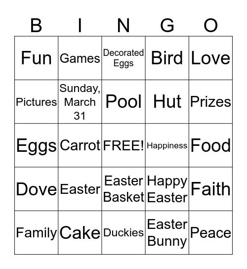 Easter 2013 Bingo Card