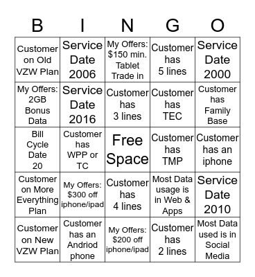 Find The Below & Get a BINGO! Bingo Card
