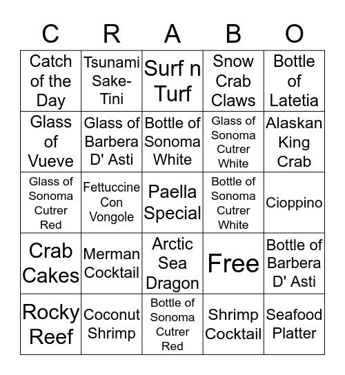 Crab and Mermaid Bingo Card