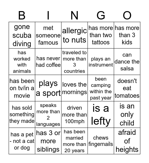 Osborn's National Week: BINGO Competition Bingo Card