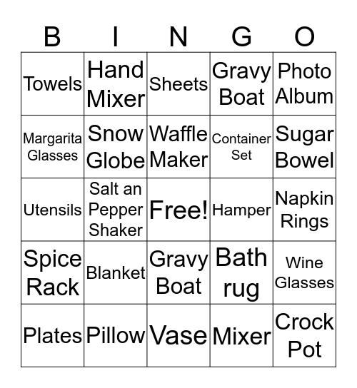 M & M Wedding Bingo Card