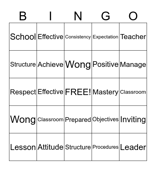 The First Days of School Bingo Card