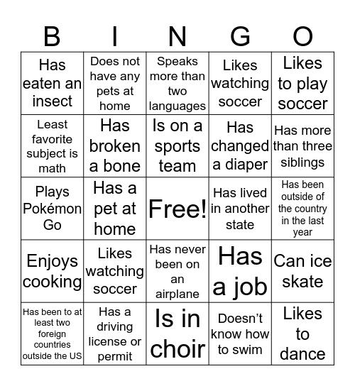 EL Bingo Card