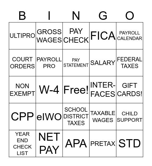 National Payroll Week - Payroll Bingo! Bingo Card