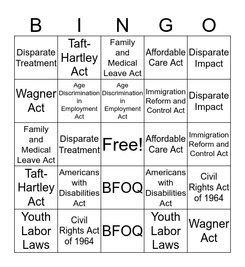 Fall 2016 UHMB HR Law Bingo Card