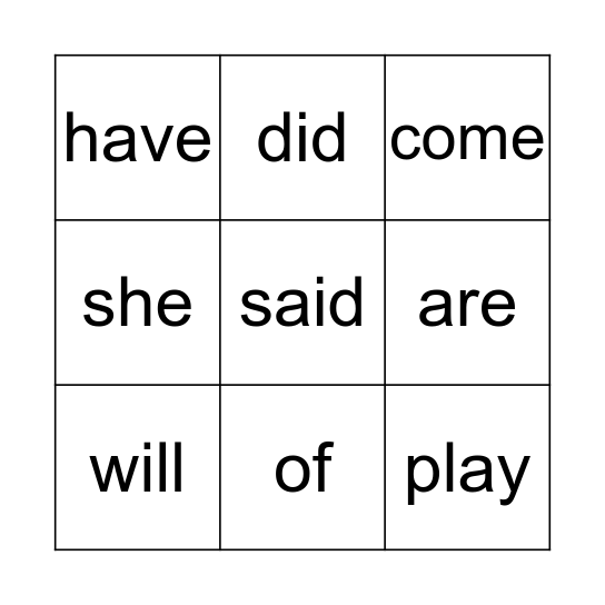 List C Bingo Card