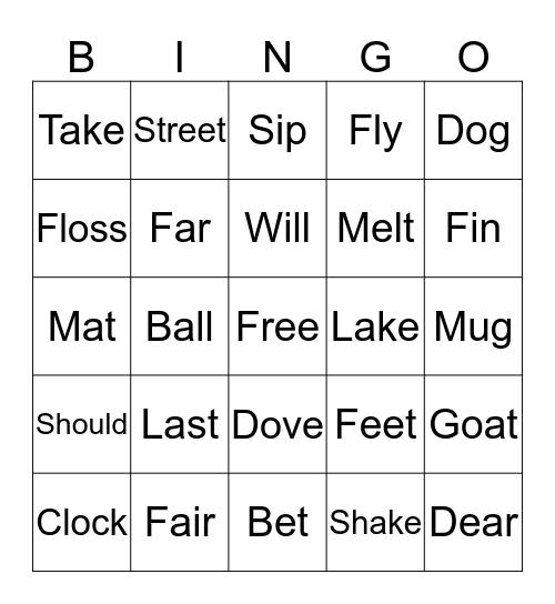 Rhyming Bingo Card