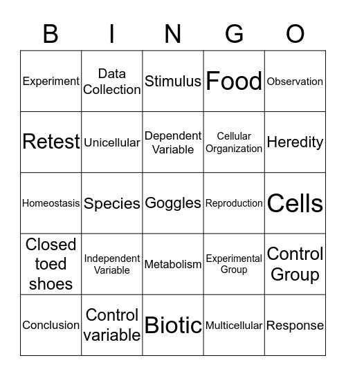 Scientific method, Lab Safety, & Characteristics of life Bingo Card