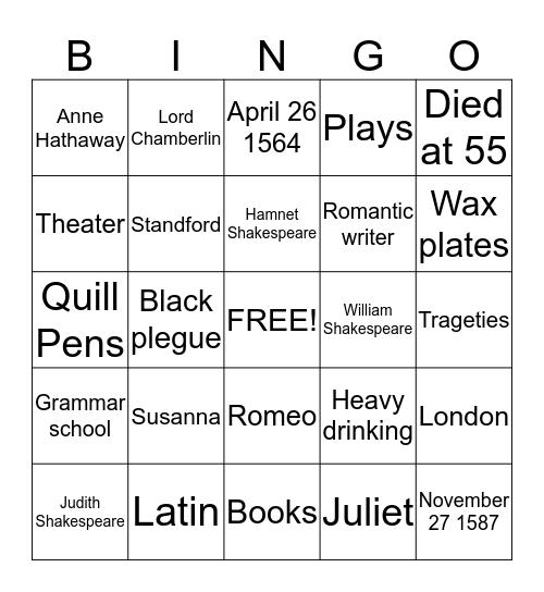 Shakespeare Bingo Card
