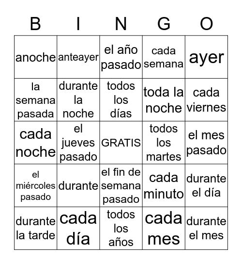 Past tense trigger words Bingo Card