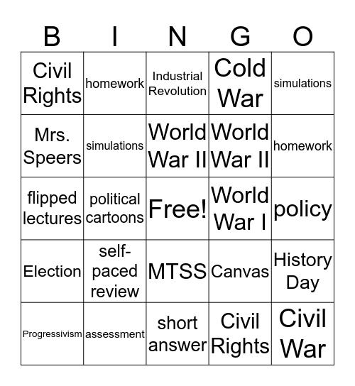 U.S. History 2 Bingo Card