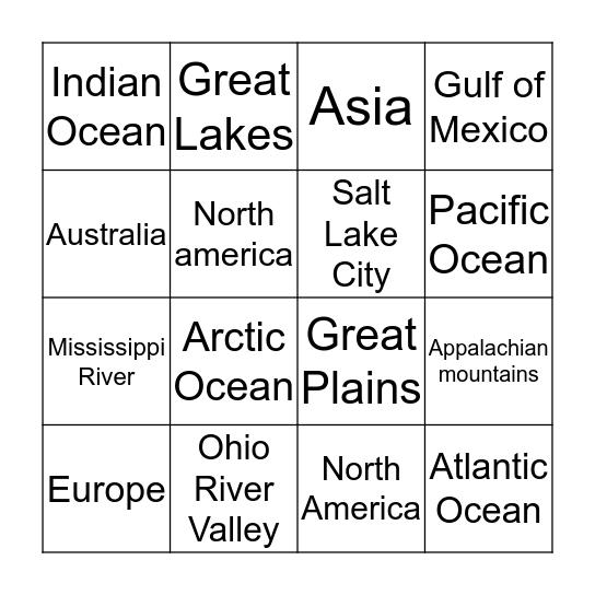 Geography Bingo Card