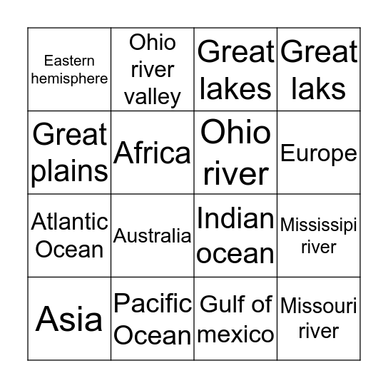 Geographybingo Card