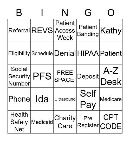 Patient Access Week BINGO Card