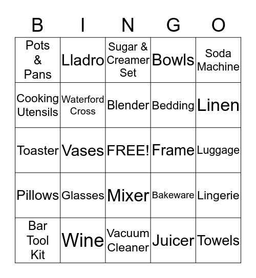 Nancy's Bridal Shower Bingo Card