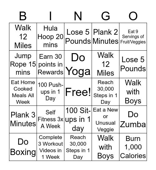 Workout BINGO Card