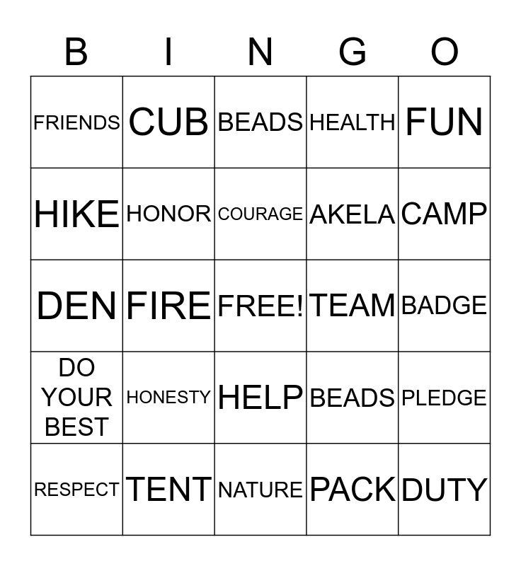 Tiger Cubs Bingo Card