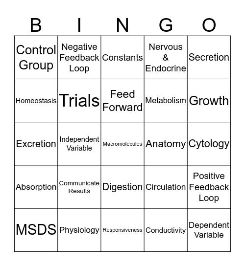 Review Test 1 Bingo Card