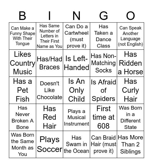 Tribes Bingo! Bingo Card