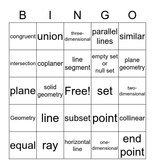 Geometry Vocabulary Bingo Card