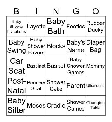 MAYURIKA'S BABY SHOWER BINGO ! Bingo Card