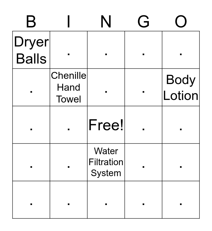 NORWEX Bingo Card