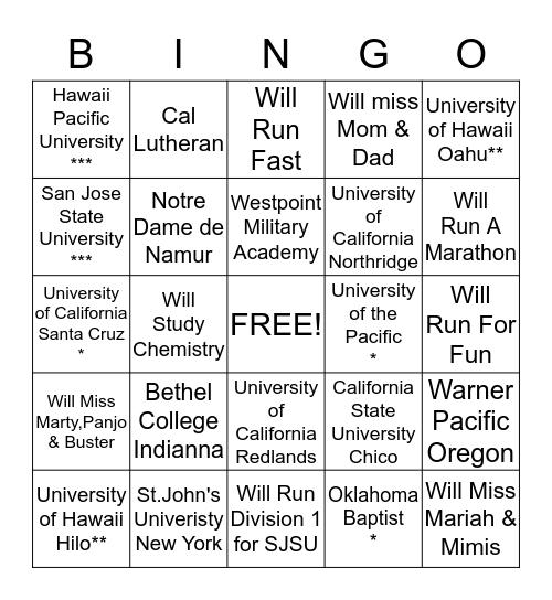 MELANIE & Bingo Card