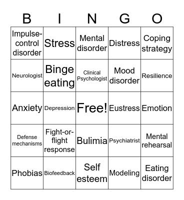 MENTAL AND EMOTIONAL HEALTH Bingo Card