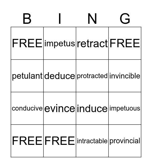 Unit 1 Vocabulary Bingo Card